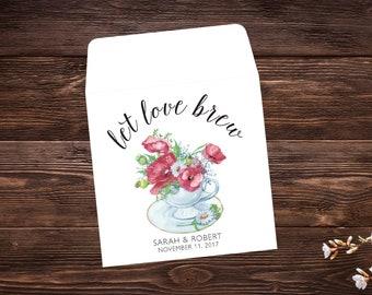 Tea Party Favors, Wedding Favor, Bridal Shower Tea Party, Wedding Tea Favor, Custom Tea Bags, Tea Favor, Let Love Brew, Tea Party x 25