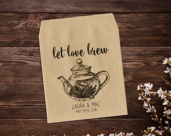 Let Love Brew, 25 Tea Party Favors, Tea Bag Favors, Rustic Wedding, Tea Party, Bridal Shower, Tea Packet Favor, Wedding Favor, Tea Favor
