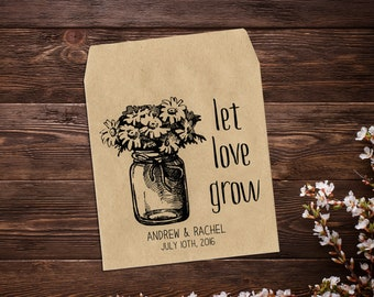 Wedding Seed Packet, 25 Personalized Wedding Favor, Rustic Wedding, Seed Envelope, Let Love Grow, Vintage Wedding, Boho Wedding