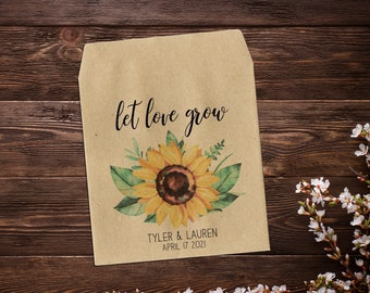 Sunflower Seed Packets, Wedding Seed Packets, Seed Packet Favor, Seed Favor, Let Love Grow, Sunflower Wedding Favor, Bohemian Wedding
