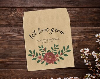 Wedding Seed Packets, Let Love Grow, Red Peony Flowers, Seed Packets, Custom Seed Packet, Rustic Wedding Favor, Peonies x 25
