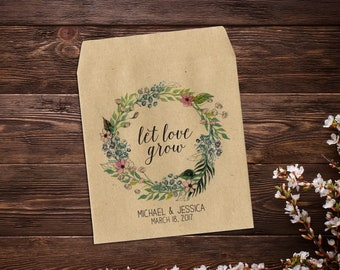 Custom Seed Packets, Boho Wedding, Seed Favor, Wedding Seed Packet, Personalized Favor, Custom Seed Wedding Favor, Wedding Favor x 25