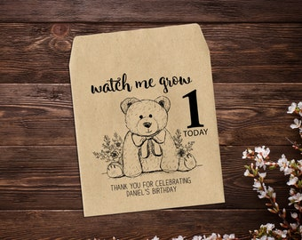 1st Birthday Party, 25 Seed Packet Favors, 1st Birthday Boy, 1st Birthday Party Favor, Seed Favors, Birthday Favor, Bear, Seed Packets x 25