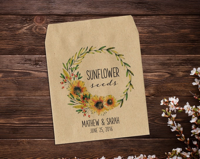 Featured listing image: Sunflower Seed Packets, Wedding Seed Packets, Seed Packet Favor, Seed Favor, Let Love Grow, Rustic Wedding Favor, Garden Wedding x 25