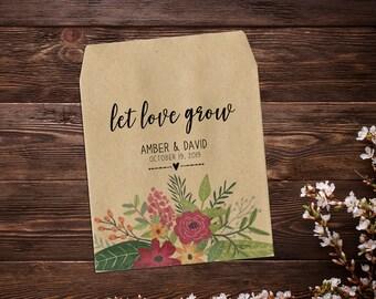 Boho Wedding Favor, Seed Packet Favor, Custom Seed Packets, Seed Packets, Woodland Wedding Favors, Let Love Grow, Rustic Wedding Favor