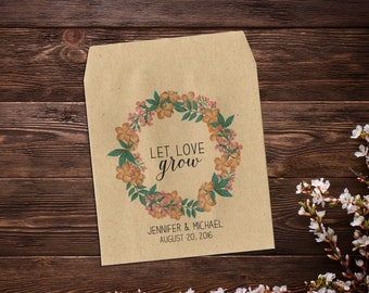 Wedding Seed Packet Let Love Grow Favor Seed Packet Favor Vintage Wedding Seed Envelopes Rustic Wedding Garden Favor Seed Packet x 25