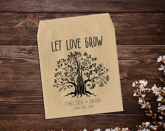 Wildflower Seed Packet, Wedding Seed Packet, Personalized Favor, Rustic Wedding Favor, Green Wedding, Let Love Grow, Seed Packet Favor x 25