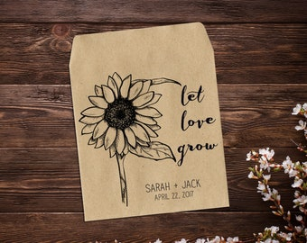 25 Sunflower Seed Packet, Personalized Favor, Custom Seed Packet, Rustic Wedding, Let Love Grow, Seed, Custom Favor, Seed Favor