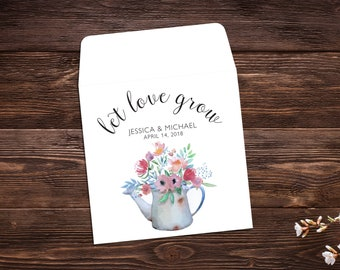 Let Love Grow, Seed Packet Favor, Spring Wedding, Wedding Favor, Watercolor, Seed Packet Envelopes, White Seed Packets, Wedding Favor x 25