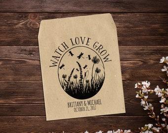 Wildflower Seed Packet, Wedding Seed Packet, Personalized Favor, Rustic Wedding, Vintage Wedding, Watch Love Grow, Seed Packet Favor x 25