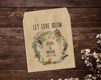 Custom Seed Packets, Seed Packet Favor, Seed Packets, Woodland Wedding Favors, Let Love Grow, Rustic Wedding Favor x 25