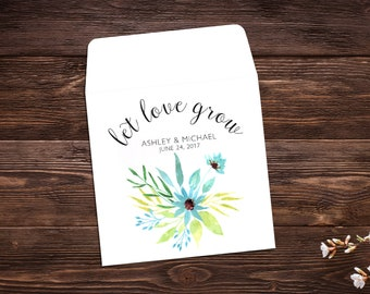 Seed Packet Favor, Let Love Grow, Spring Wedding, Wedding Favor, Watercolor, Seed Packet Envelopes, White Seed Packets, Wedding Favor x 25