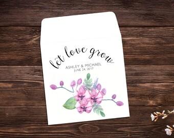 Wedding Seed Packets, 25 Wedding Favors, Let Love Grow Favors, Seed Favors, Seed Packet Favor, Wildflower Seeds, Pink Wedding Favor