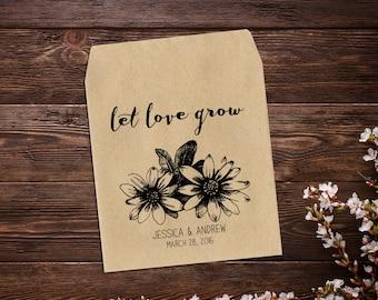 Seed Packet Favor, Rustic Wedding Favor, Wedding Seed Packet, Sunflower Seeds, Vintage Wedding, Let Love Grow Favor, Seed Packet Favor x 25