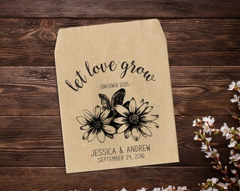 25 Seed Packets, Rustic Wedding Favor, Sunflower Favor, Seed Packet Favor, Wedding Seed Packet, Wedding Favor, Boho Wedding, Seed Favor