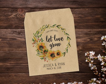 Seed Packet Favor, Seed Packet Favors, Sunflower Seed Packets, Wedding Seed Packets, Let Love Grow, Rustic, Wedding Favours x 25