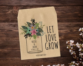 Mason Jar Favor, Custom Seed Packets, Seed Packet Favor, Seed Packets, Country Wedding Favors, Let Love Grow, Rustic Wedding Favor