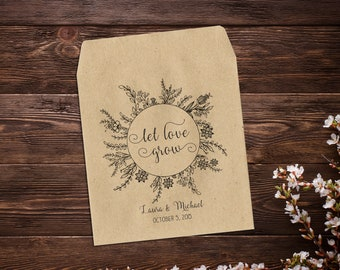 Let Love Grow Seed Packet Personalized Wedding  Boho Wedding Seed Envelopes Seed Packet Favor Rustic Wedding Wedding Favor x 25