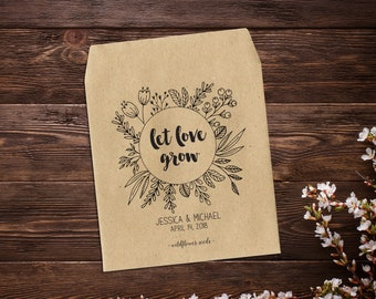 Seed Packets, 25 Wedding Favors, Let Love Grow, Wedding Seed Packets, Seed Packet Favors, Seed Wedding Favors, Seed Favors