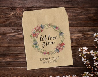 Seed Packet Favors, 25 Personalized Wedding Favors, Wedding Guest Gift, Brown Kraft Wedding Favor, Summer Wedding