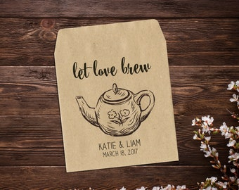 Custom Favor, 25 Tea Party Favors, Tea Bag Favor, Garden Wedding, Bridal Shower Favors, Tea Packet, Let Love Brew, Wedding Favor, Tea Favor