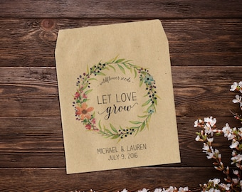 Seed Packet Favor, Wedding Seed Packet, Flower Favor, Let Love Grow Favor, Rustic Wedding Favor, Garden Wedding, Summer Wedding Favor  x 25