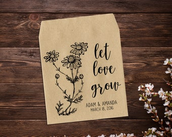 Seed Packets, Rustic Wedding Favor, Let Love Grow Favor, Wedding Seed Packets, Seed Wedding Favor, Seed Packet Favor, Wildflower Favor x 25
