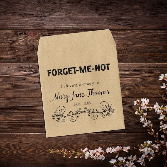 Religious Funeral Favors Forget Me Not Favors Funeral Favors Custom Seed Favor