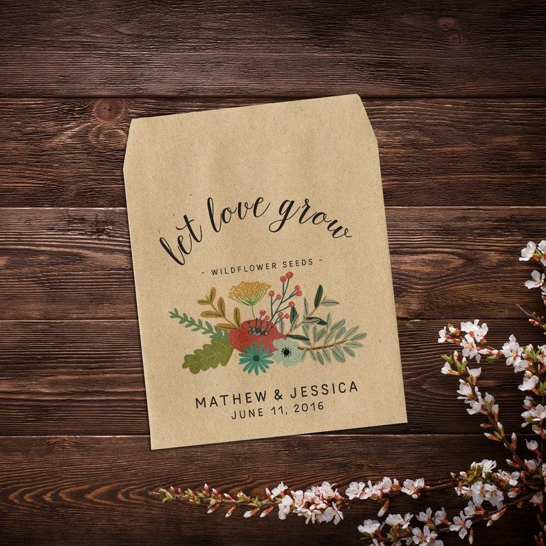 Wedding Seed Packet Seed Packet Favor Flower Seed Let Love image 0