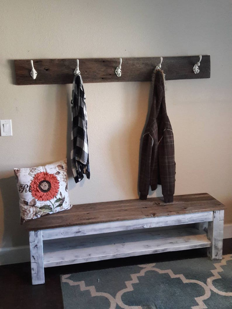Etonnant Entryway Bench, Farmhouse Storage Bench, Shoe Storage, Bench With Shelf,  Storage Bench, Mudroom, Distressed