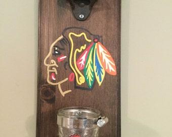 Chicago Blackhawks Rustic Wall-Mount Bottle Opener