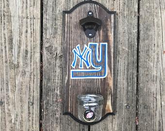 New York Yankees + New York Giants Rustic Wall-mounted Bottle Opener