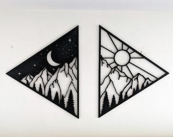 Sun and Moon Over Mountains | Sun and Moon Wall Decor | Laser Cut Wall Art | CNC Cut Wall Art