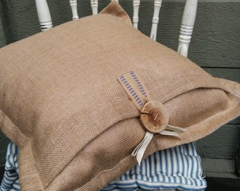 Ticking Pillow Cover with Burlap
