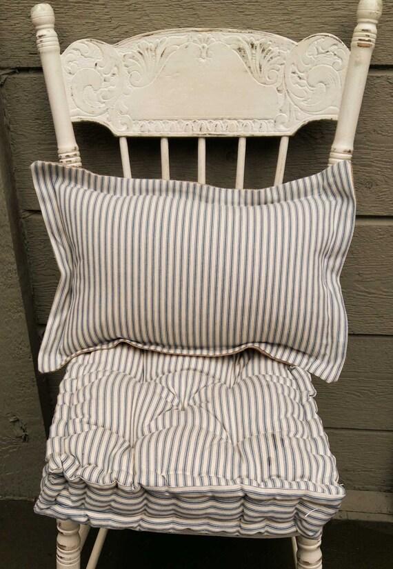 Farmhouse Ticking Pillow Lumbar Pillow Blue And White Etsy