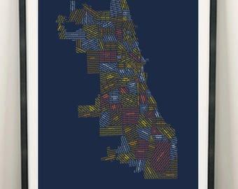 Plan de quartier de Chicago, carte de Chicago, Chicago Art, Art mural