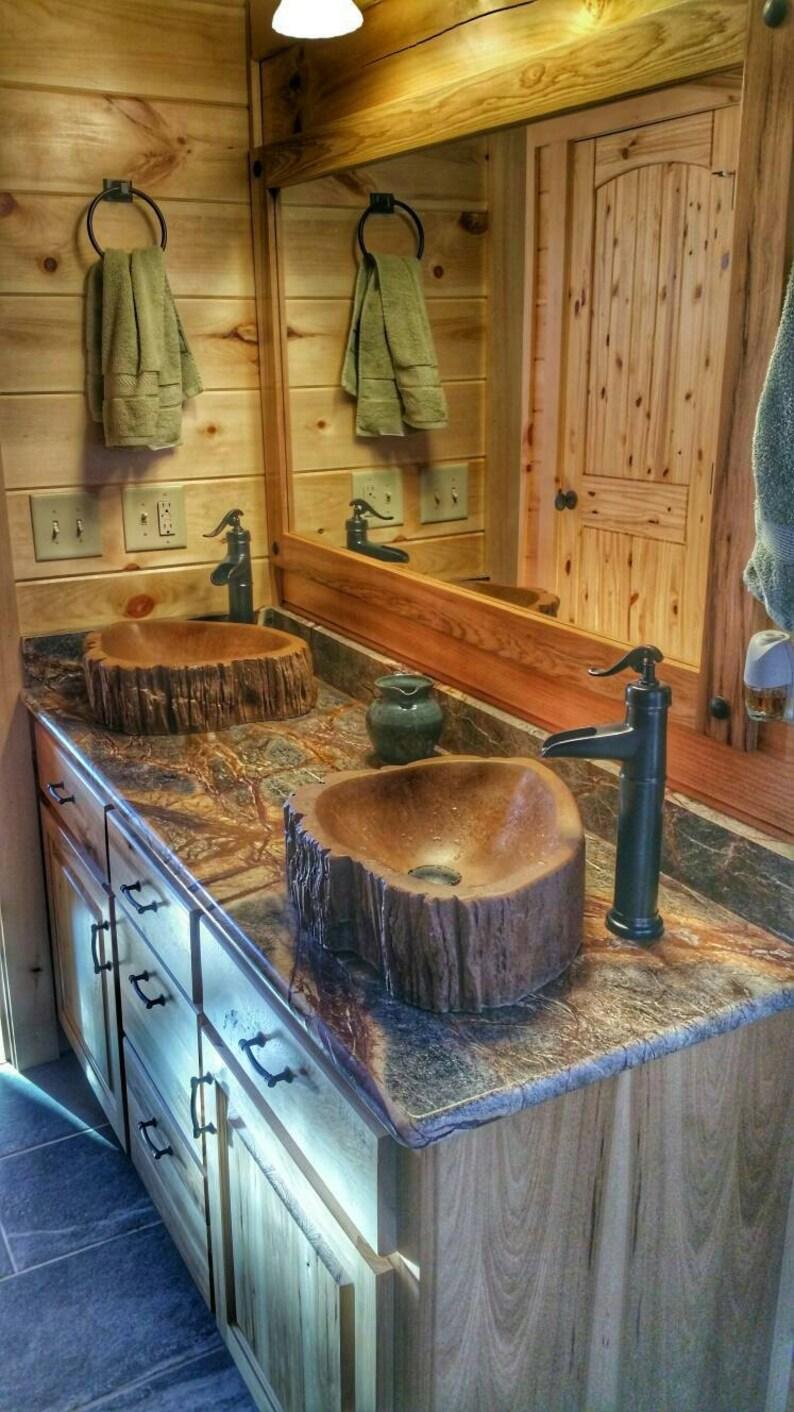 Custom Concrete wood log sink tree basin vessel vanity image 0