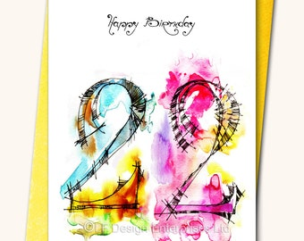 22nd EXTRA LARGE Birthday Greeting card, A4,(8''x 11''), Personalised card, Any name on the cards, Age specific birthday card