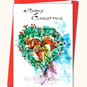 watercolour card glitter Merry Christmas gems personalised handmade card New year