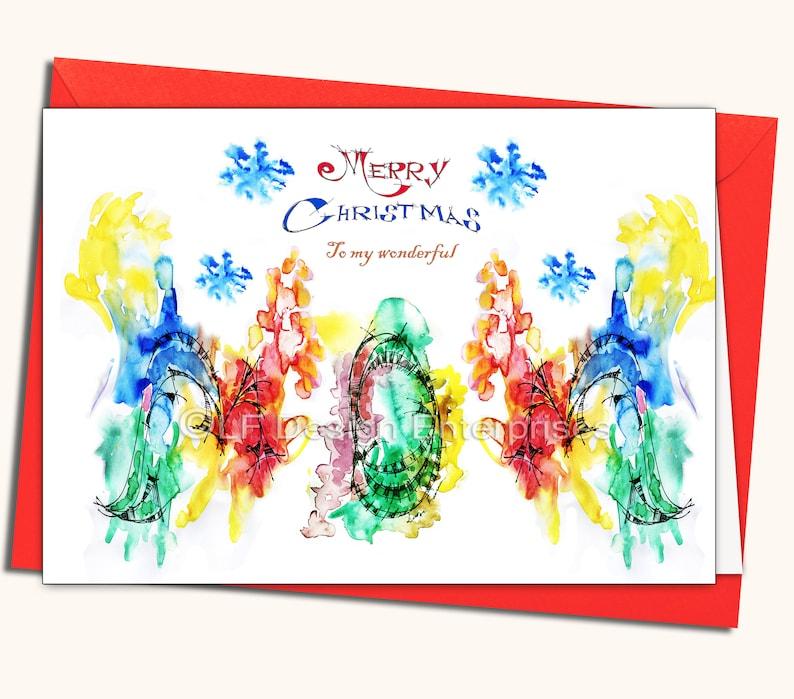 watercolour card Christmas /& New Year glitter personalised handmade card mom gems sale