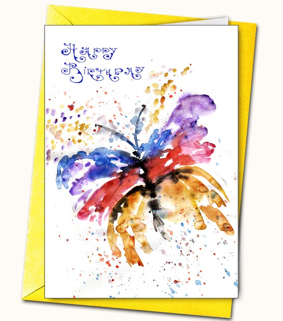Birthday Greeting Card Butterfly Watercolour Personalised