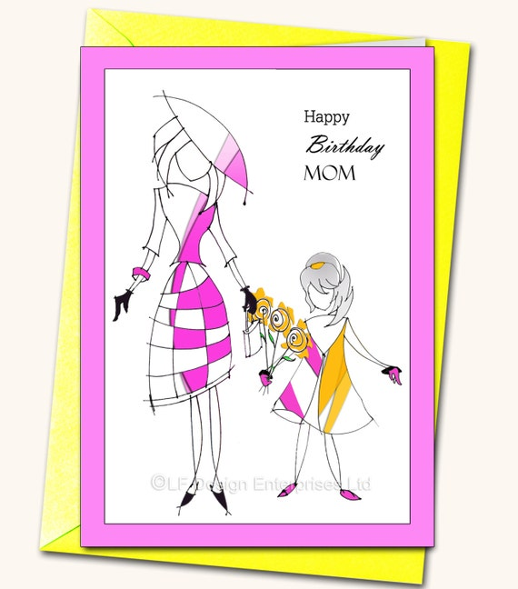 Happy Birthday Mom Daughter Greeting Card Personalised Card Etsy