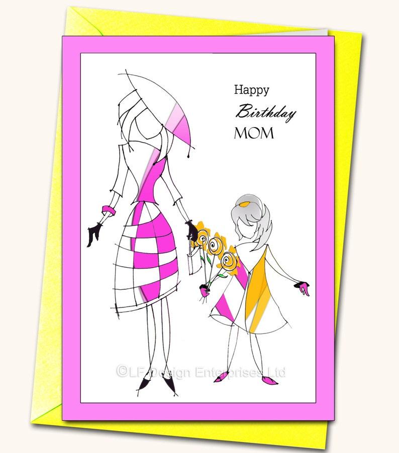 Gelukkige Verjaardag Moeder Dochter Greeting Card Etsy