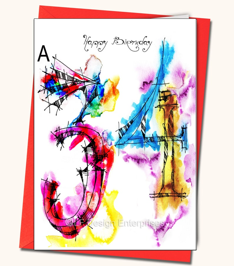 34th Birthday Greeting Card Personalised Cards Any Name On