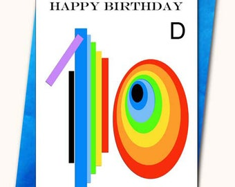 10th Birthday Greeting card, Personalised cards, Any name on the cards, Age specific birthday cards