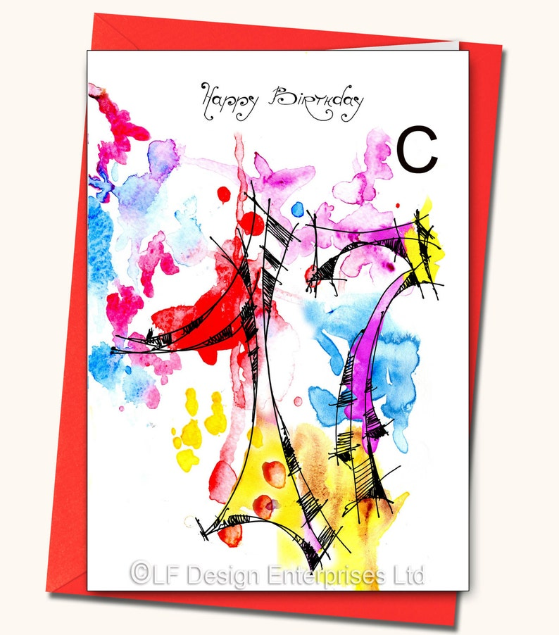 17th Birthday Greeting Card, Personalised cards, Any name on the cards, Age  specific birthday cards