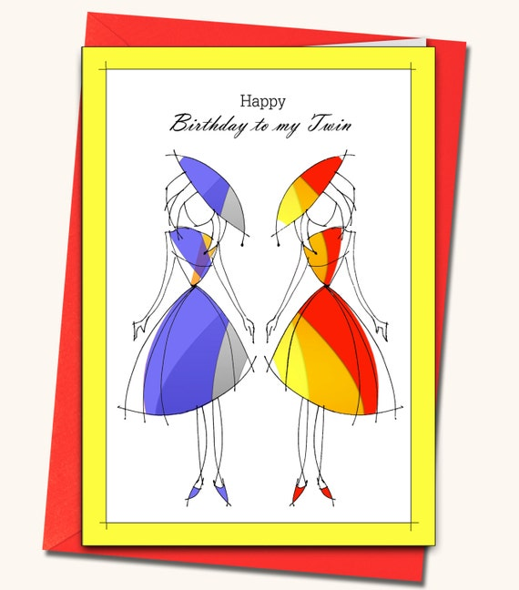 Greeting Card Happy Birthday To My Twin Personalised Cards Etsy