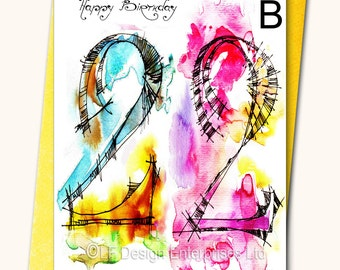 22nd Birthday Greeting Card, Personalised cards, Any name on the cards, Age specific birthday cards