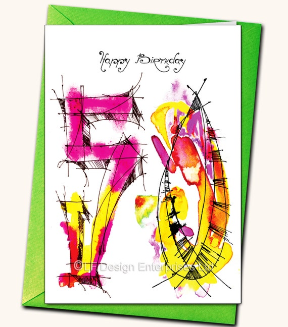 50th LARGE Birthday Greeting Card Personalised Cards Any