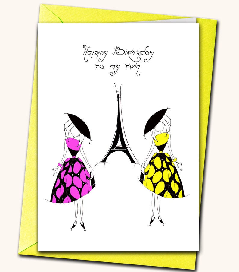 Extra Large Greeting Card Happy Birthday To My Twin Personalised Cards Any Nam